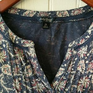 Lucky Brand navy red print peasant top 2X